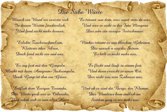 Thalias Wohnstollen - Gedicht: Die Süße Wüste