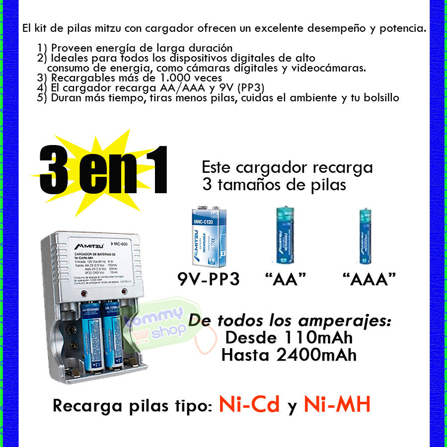 Kit 4 pilas recargables cargador ni mh ni cd 9v pp3 aa aaa - Pilas recargables aaa ...