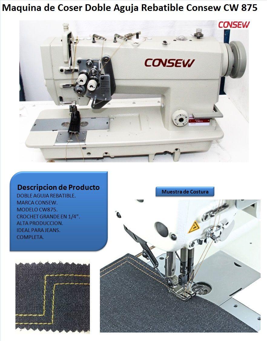 Maquina De Coser 2 Agujas Plana Rebatible Consew Cw 875