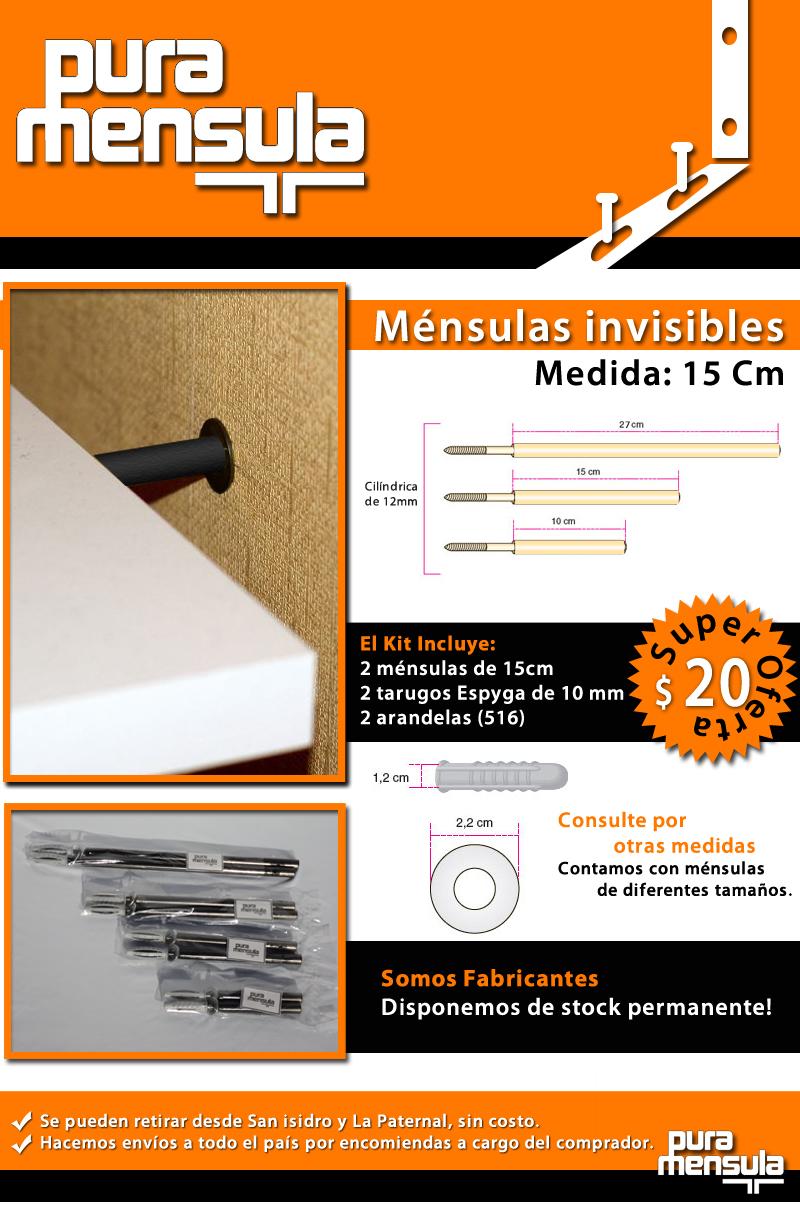 M nsulas invisibles de 15 cm para estantes flotantes estantes a ars 20 en preciolandia - Mensulas para estantes ...