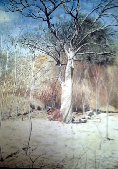 ein schöner Baum in Güttingen mit einem Rind unter seinem Schatten war mir da als ein interessantes Malmotiv aufgefallen.