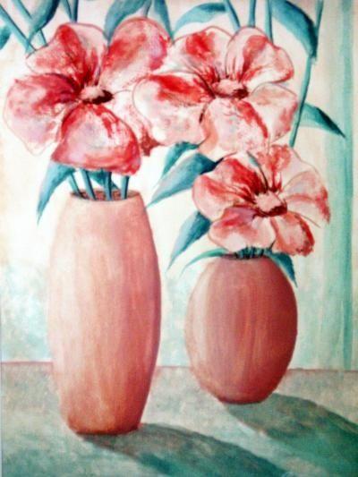 Malerei, Zwei Vasen mit Blumen, gemalte Bilder im Realismus von Lisa Wenderoth (Künstlername), Elisabeth Becker-Schmollmann