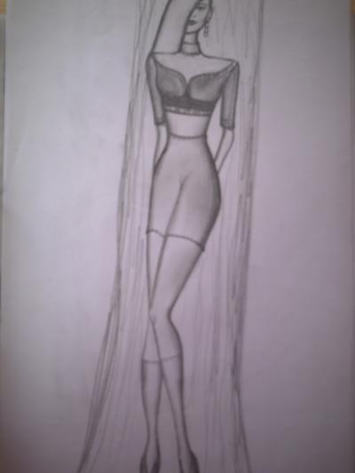 Mode-Entwurfs-Zeichnung Nr. 2 mit Bleistift, von Elisabeth Becker-Schmollmann