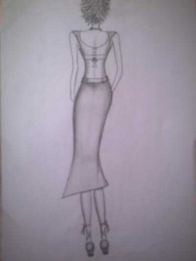 Mode-Entwurfs-Zeichnung Nr. 1, mit Bleistift gemalt, von Elisabeth Becker-Schmollmann
