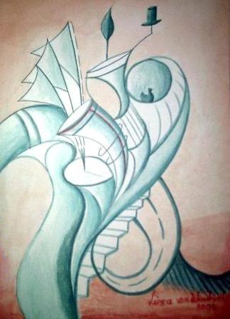 Malerei, Die Trompetenfrucht, im Surrealismus von Lisa Wenderoth (Künstlername), Elisabeth Becker-Schmollmann