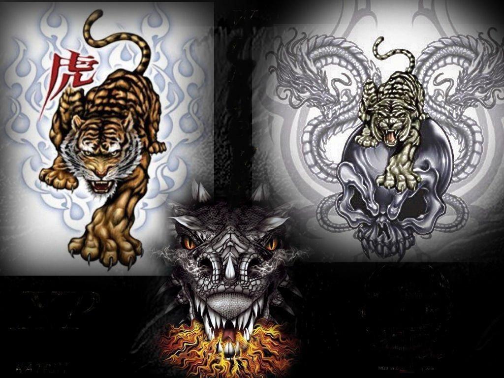 yin and yang dragon wallpaper