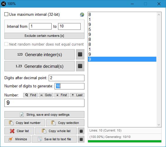 Random Number Generator full screenshot