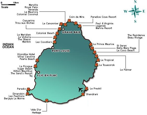 MAURITIUS Map of Hotels