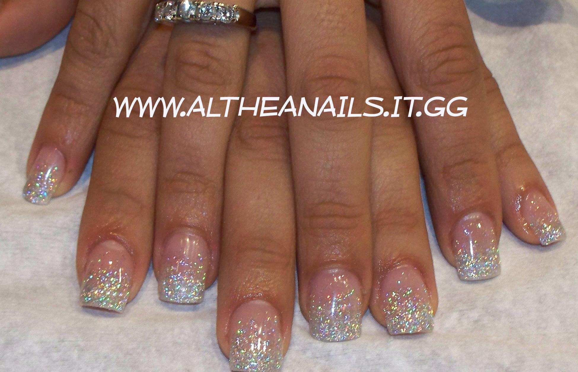 Unghie Gel Argento Glitter