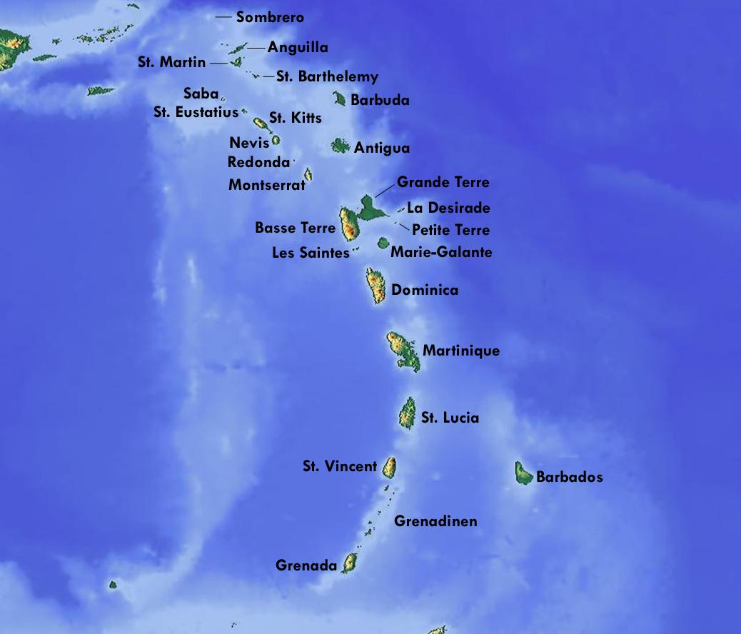Kleine Antillen Karte.Karibische Anolis