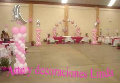 Arte y decoraciones linda decoracion con globos for Arreglos de salon con globos
