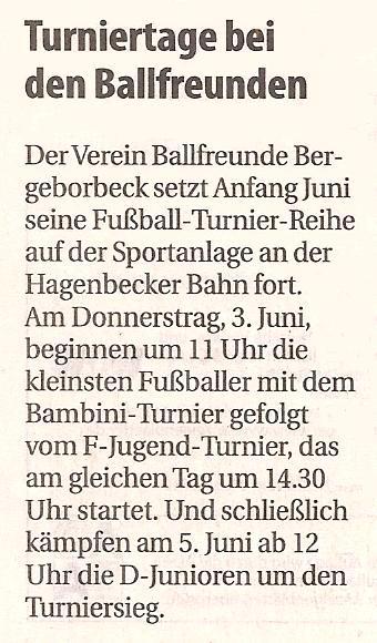 Borbeck-Kurier-Bericht vom 02.06.2010 Ankündigung der Ballfreunde Turnierwoche
