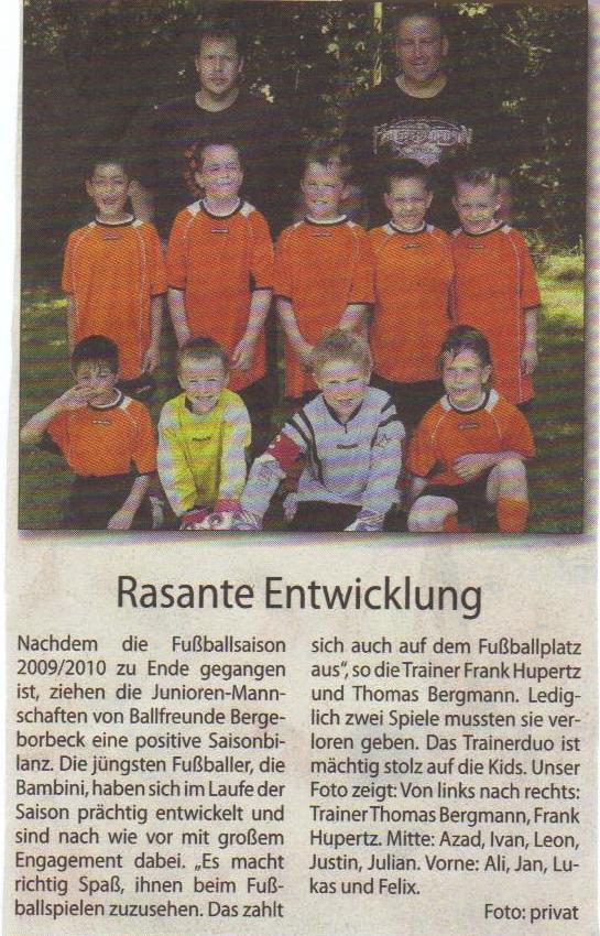 Borbeck-Kurier-Bericht vom 24.07.2010 über die Ballfreunde Bambini