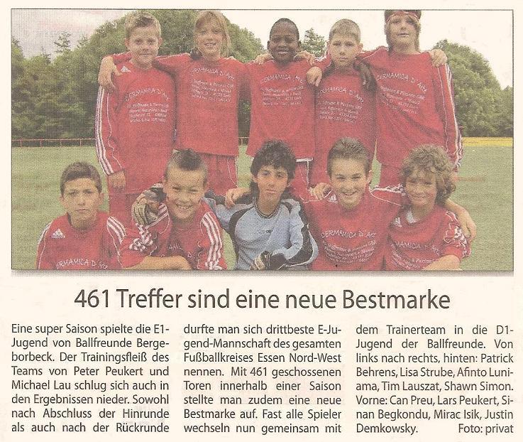 Borbeck-Kurier-Bericht vom 31.07.2010 Bericht über die Saison der Ballfreunde E1-Jugend