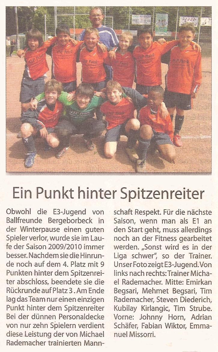 Borbeck-Kurier-Bericht vom 07.08.2010 Bericht über die Saison der Ballfreunde E3-Jugend