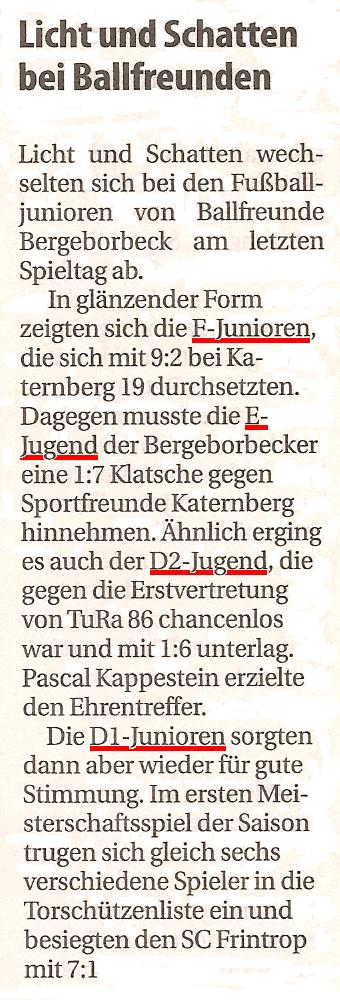 Borbeck-Kurier-Bericht vom 25.09.2010 Bericht über die Spiele der Ballfreunde-Junioren
