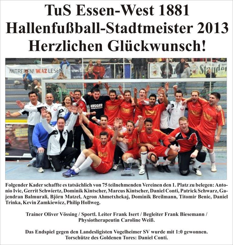 TuS Essen-West 1881 - Hallenstadtmeister 2013