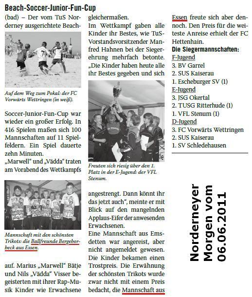Norderneyer Morgen vom 06.06.2011 berichtet über die F1 von Ballfreunde Bergeborbeck