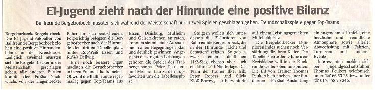 WAZ-Bericht vom 11.01.2010 über Ballfreunde Bergeborbeck
