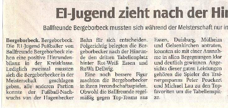 WAZ-Bericht vom 11.01.2010 über Ballfreunde Bergeborbeck, Spalten 1-3