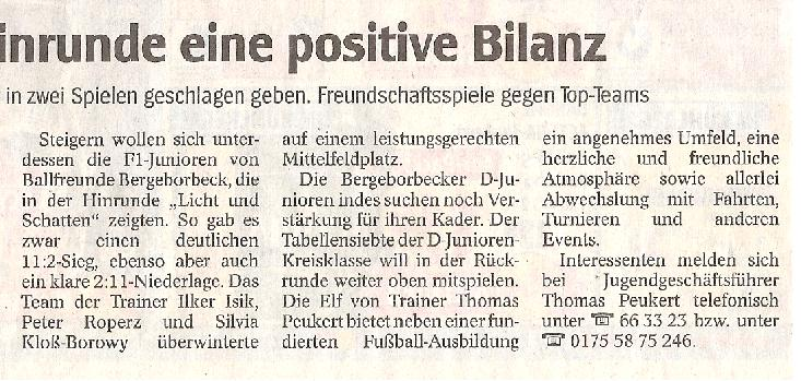 WAZ-Bericht vom 11.01.2010 über Ballfreunde Bergeborbeck, Spalten 4-6