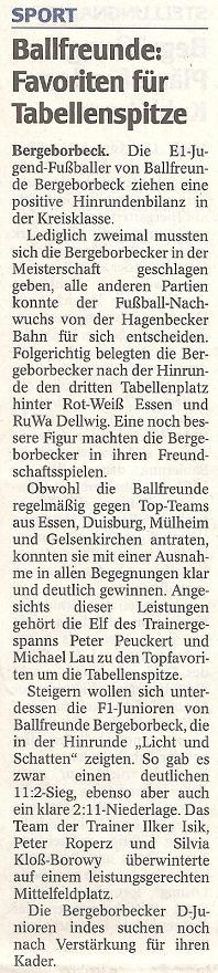 WAZ-Bericht vom 12.01.2010 über Ballfreunde Bergeborbeck