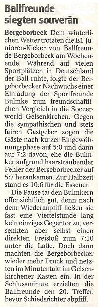 WAZ-Bericht vom 12.01.2010 über Ballfreunde Bergeborbeck E1