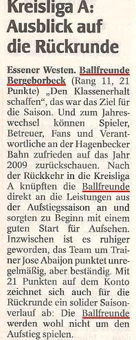 WAZ-Bericht vom 18.01.2010 über die Hinrunde der 1. Mannschaft von Ballfreunde Bergeborbeck in der Kreisliga A
