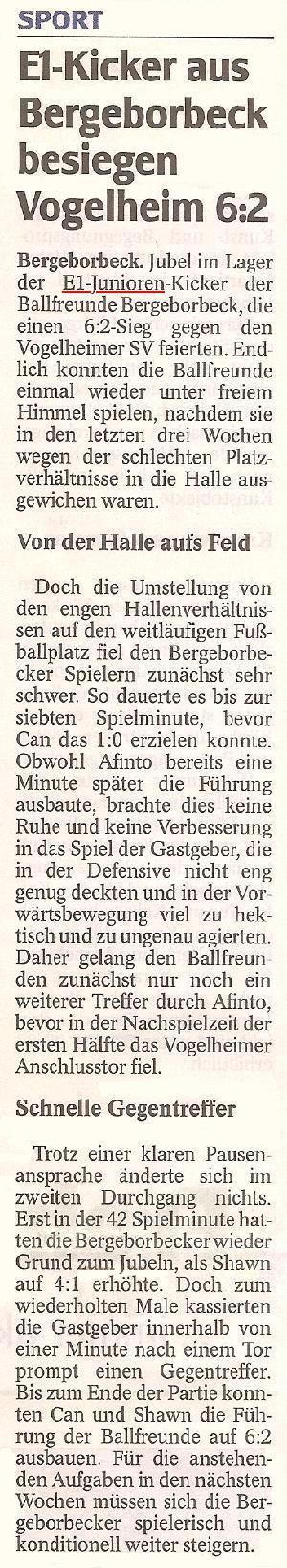 WAZ-Bericht zum 6:2 Sieg der E1-Jugend bei SV Vogelheim