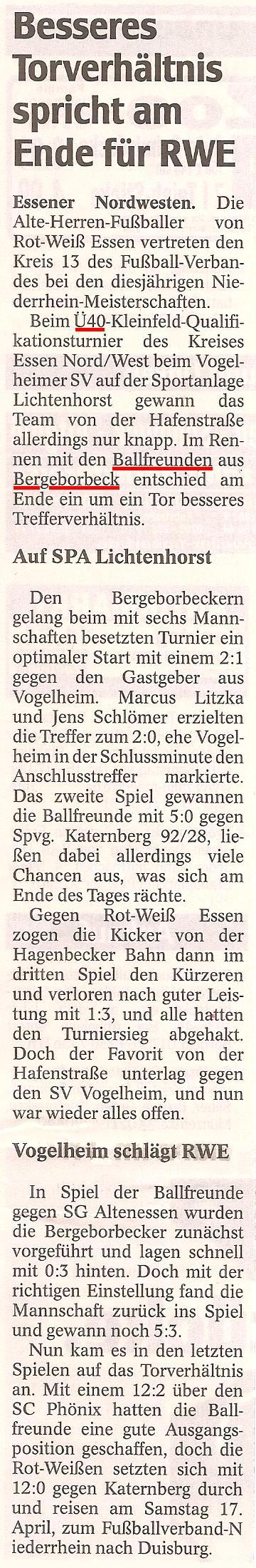 WAZ berichtet über Ballfreunde Alte Herren Ü40 Niederrhein Qualifikation