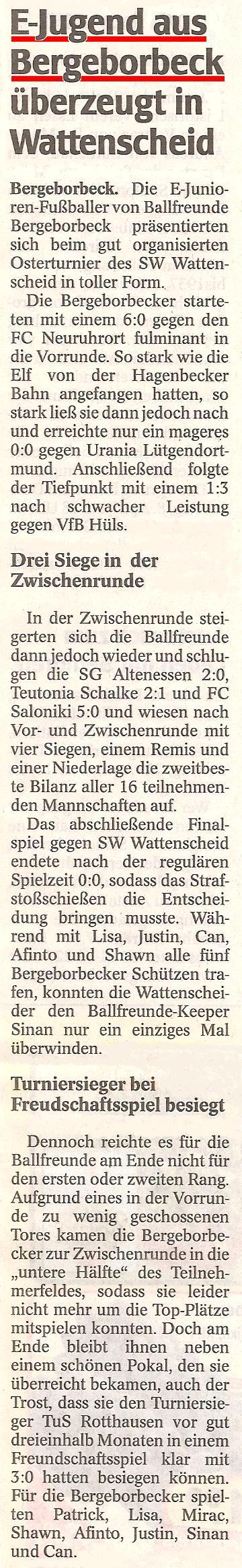 WAZ berichtet über Ballfreunde E1 Turnier am Ostersamstag 2010