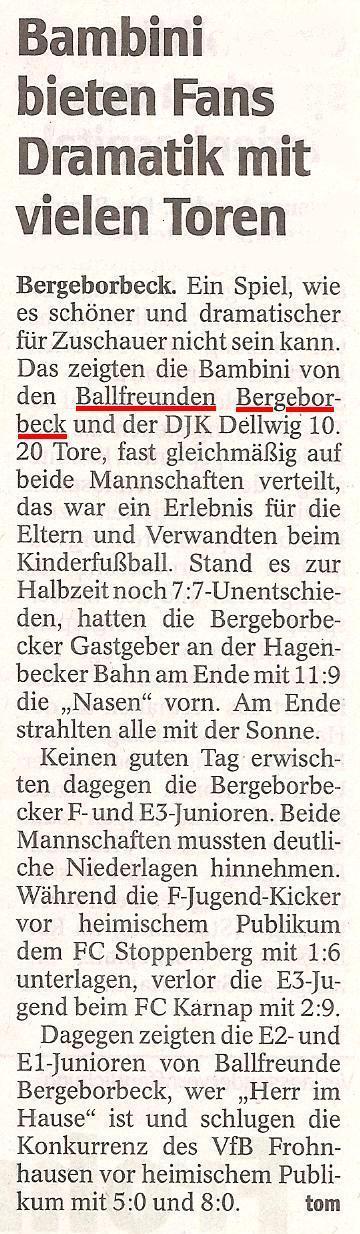 WAZ berichtet über die Ballfreunde Junioren-Spiele am 24.04.2010