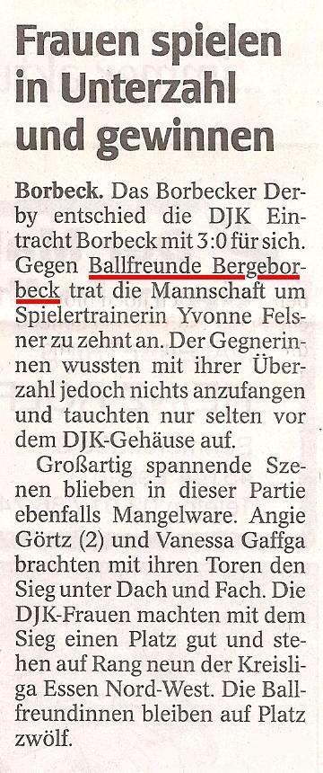 WAZ berichtet über die Ballfreunde Frauen bei Eintracht Borbeck am 25.04.2010