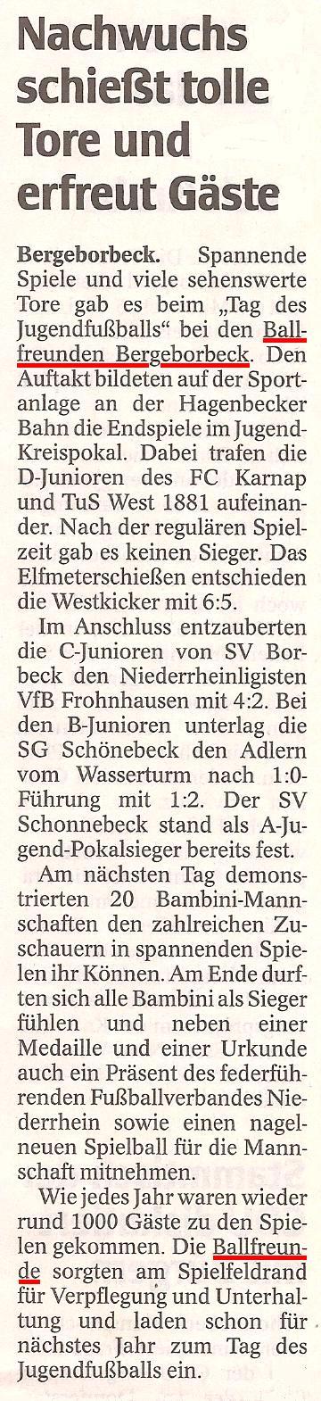 WAZ-Bericht vom Tag des Jugendfussballs am 2. Mai 2010