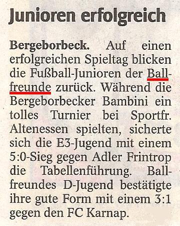 WAZ-Bericht über die Spiele der Junioren vom 08.05.2010