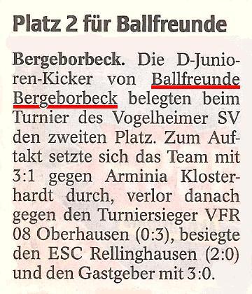 WAZ-Bericht vom 31.05.2010 über den 2. Platz der D-Jugend beim Turnier in Vogelheim
