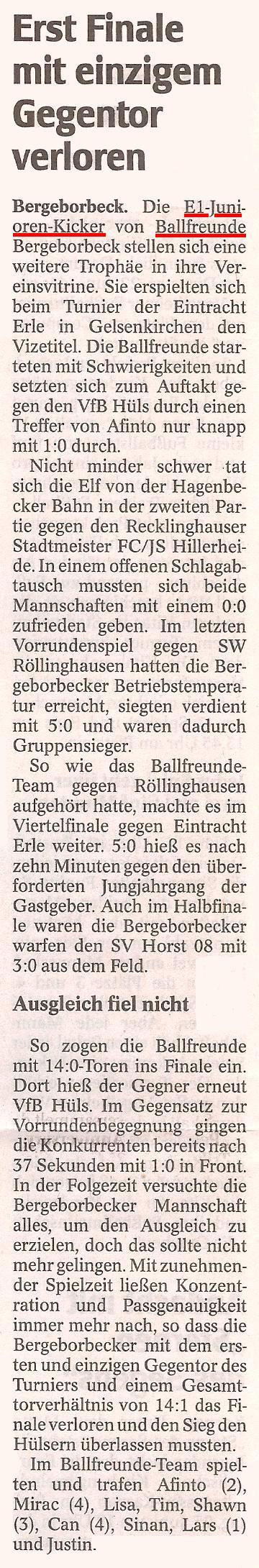 WAZ-Bericht vom 21.06.2010 über das Turnier der E1-Jugend vom 12.06.2010