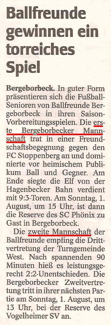 WAZ-Bericht vom 30.07.2010 über die Vorbereitungsspiele der 1. und 2. Mannschaft