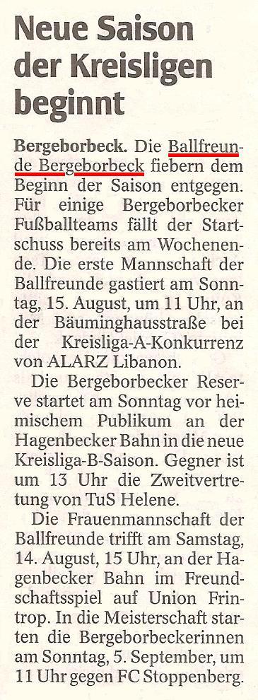 WAZ-Bericht vom 13.08.2010 über die Wochenendspiele der Ballfreunde-Mannschaften