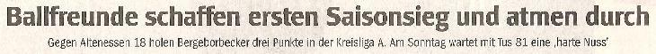 WAZ-Bericht vom 08.09.2010 über die 1. Mannschaft von Ballfreunde Bergeborbeck, Teil 1
