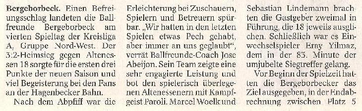 WAZ-Bericht vom 08.09.2010 über die 1. Mannschaft von Ballfreunde Bergeborbeck, Teil 2