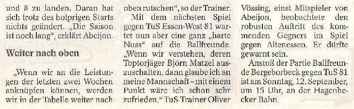 WAZ-Bericht vom 08.09.2010 über die 1. Mannschaft von Ballfreunde Bergeborbeck, Teil 3
