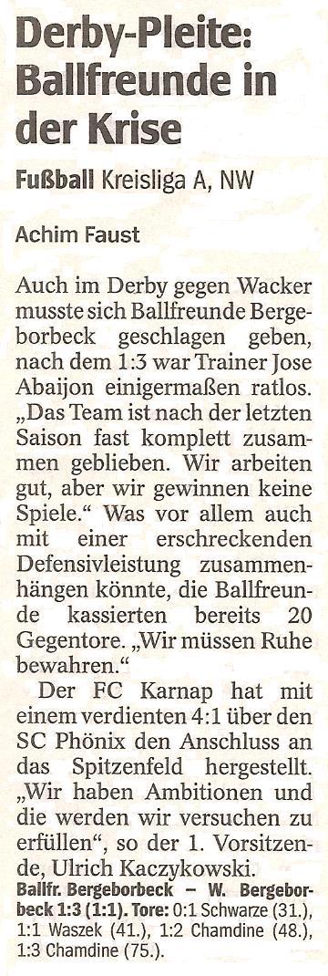 WAZ-Bericht vom 27.09.2010 über das Derby unserer 1. Mannschaft gegen Wacker Bergeborbeck