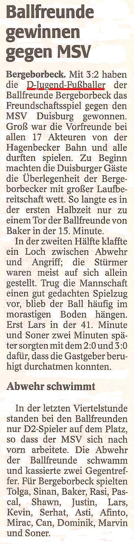 WAZ vom 21.10.2010 berichtet vom Sieg der Ballfreunde D-Jugend über MSV Duisburg