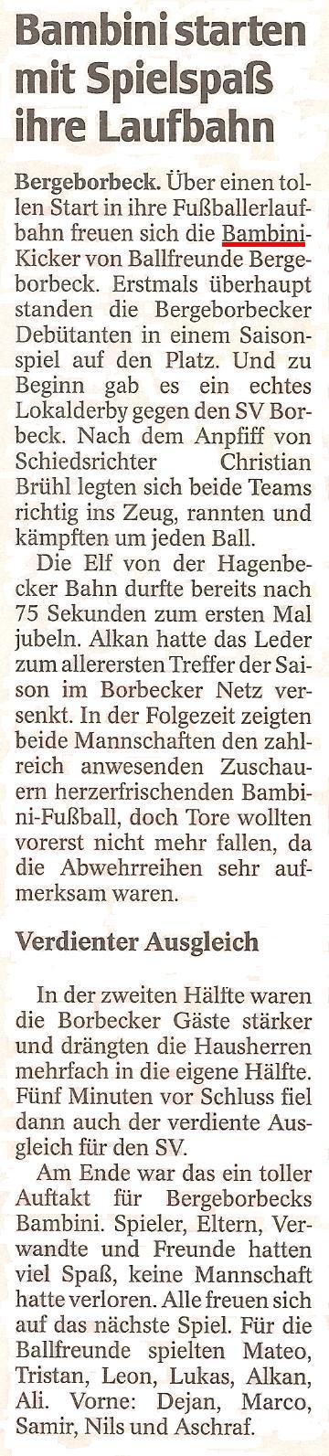 WAZ vom 25.10.2010 berichtet über das erste Spiel der Bambinimannschaft von Ballfreunde Bergeborbeck