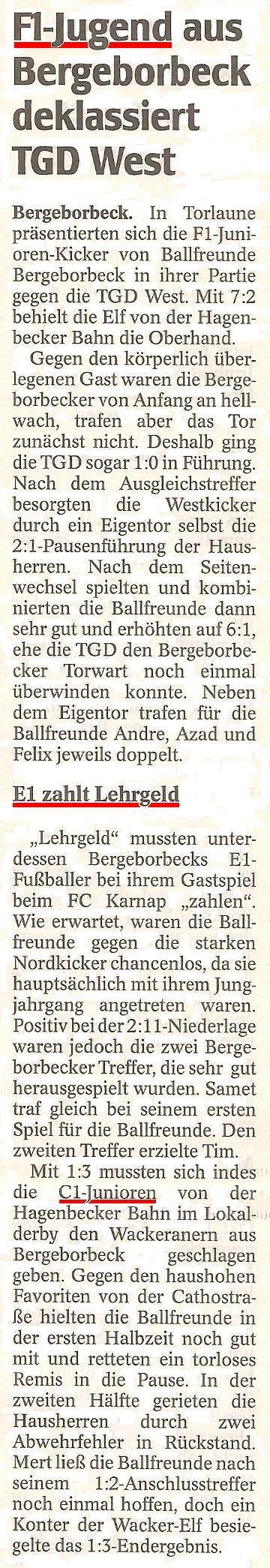 WAZ vom 27.10.2010 berichtet über die F- und E-Jugend von Ballfreunde Bergeborbeck