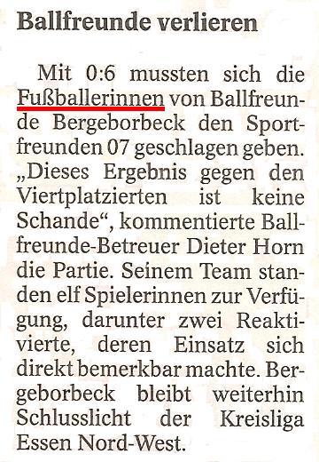 WAZ vom 05.11.2010 berichtet über die Frauenmannschaft von Ballfreunde Bergeborbeck
