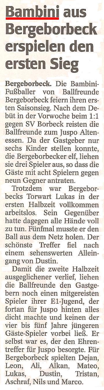WAZ vom 08.11.2010 berichtet über die Bambini-Mannschaft von Ballfreunde Bergeborbeck