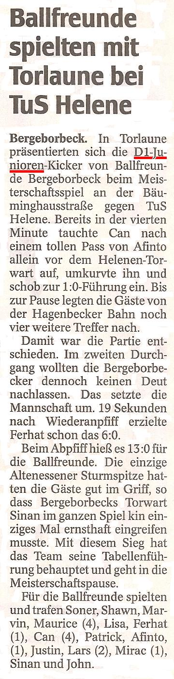 WAZ vom 15.11.2010 berichtet über den 13:0 Sieg der D1-Jugend über TuS Helene