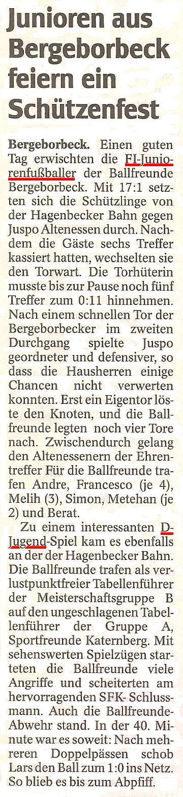 WAZ vom 23.11.2010 berichtet über die F1- und D1-Jugend von Ballfreunde